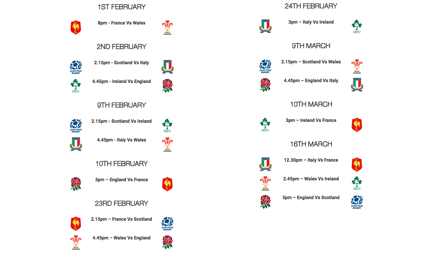 Six nations fixtures from the 1st of February till 23rd of February